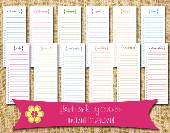 INSTANT DOWNLOAD -- Perpetual Birthday Calendar With Brackets