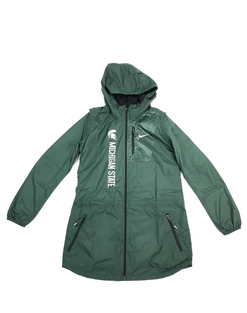 d3a6f817d323 Nike Womens Michigan State Green Packable Wind Rain Jacket Size S NWT  125