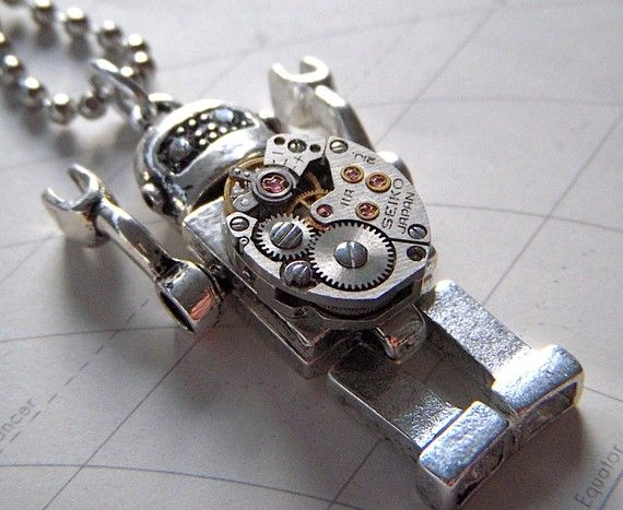 Robot Necklace Steampunk Jewelry Vintage Watch Movement Metal Mini Fig Size Silver Tone Metal. $55.00, via Etsy.