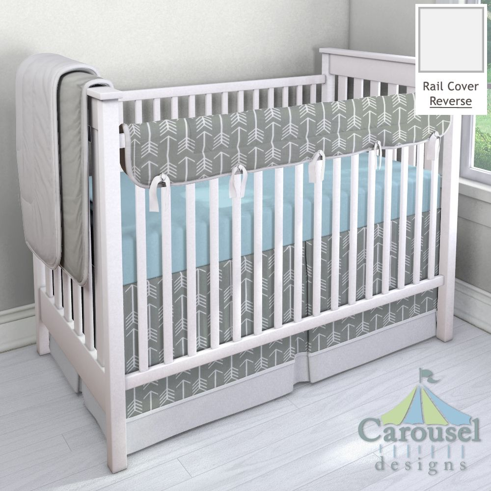 Crib bedding in Silver Gray Linen, Gray Arrow, Solid Mist. Created using the Nursery Designer® by Carousel Designs where you mix and match from hundreds of fabrics to create your own unique baby bedding. #carouseldesigns