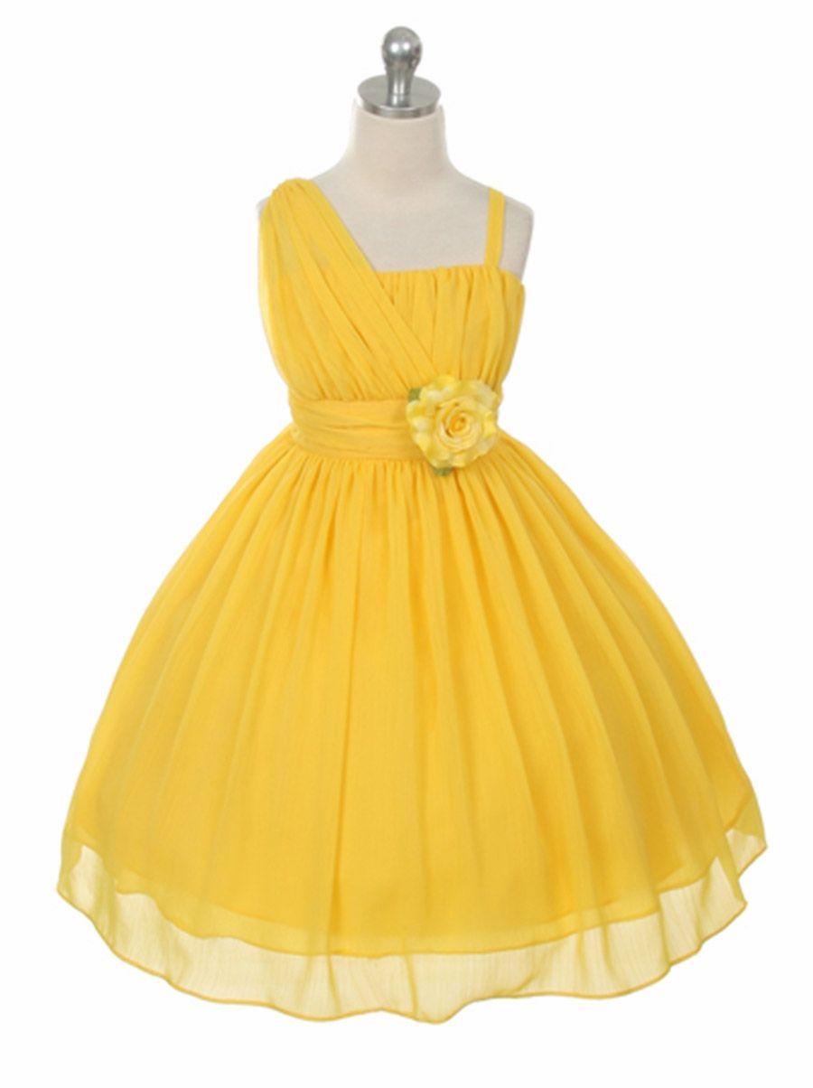 Yellow One Shoulder Chiffon Dress
