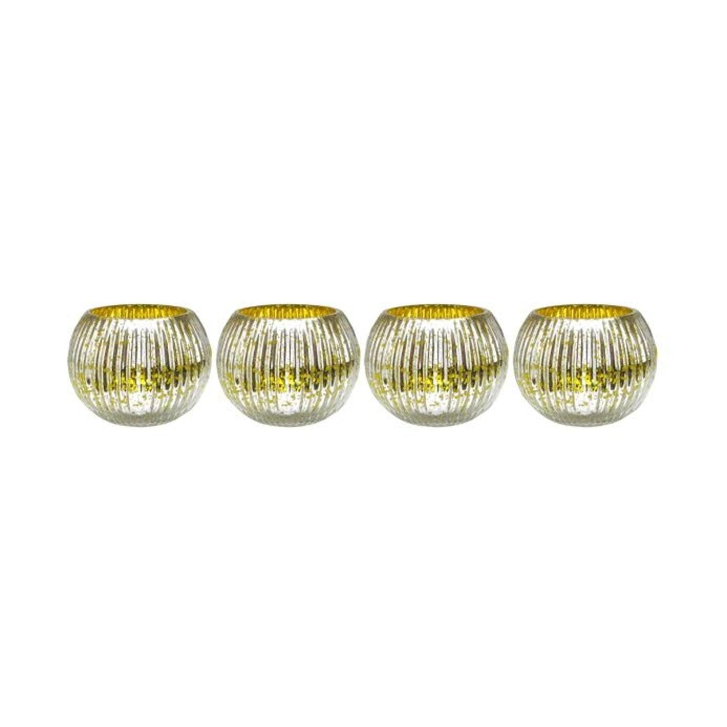 Set of yellow and silver ribbed round mercury glass decorative