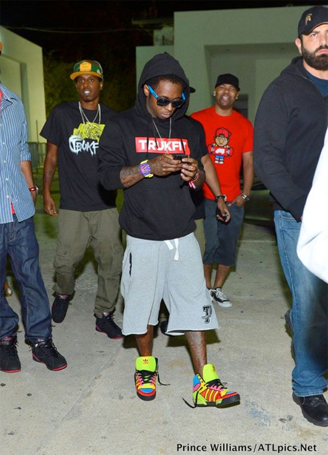 premium selection 086dc db181 Lil Wayne wearing Adidas Jeremy Scott
