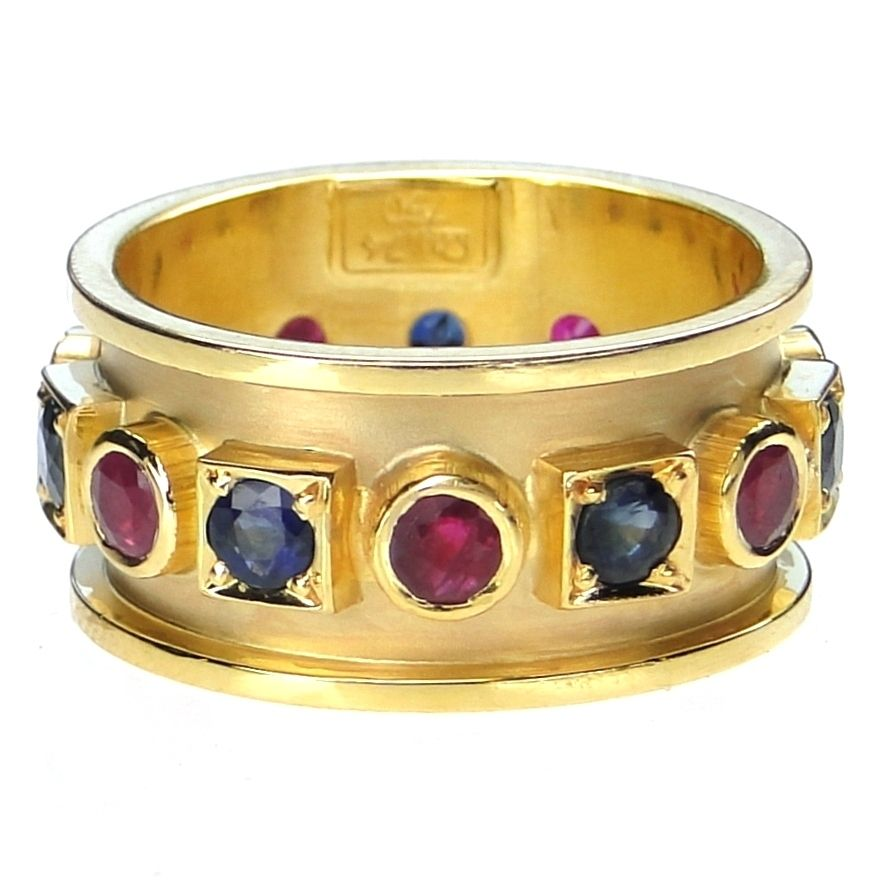 Damaskos 18k Gold Sapphire and Ruby Band Ring, 18k Gold and Stones of your Choice. Athena's Treasures: www.athenas-treasures.com/