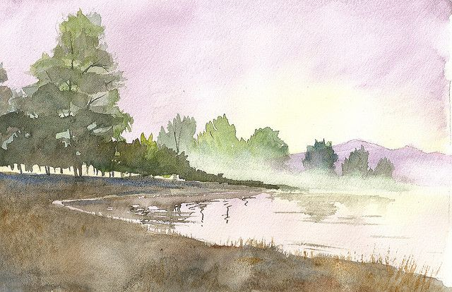 Watercolor Landscape Foggy Lake 2 With Images Watercolor