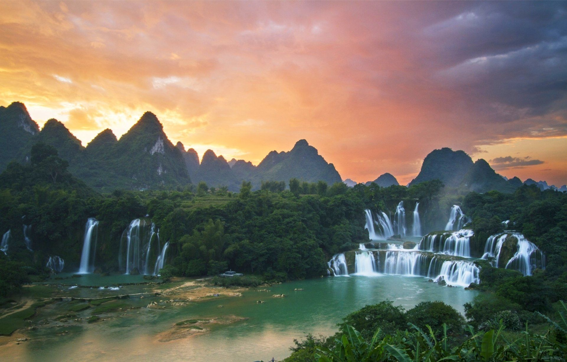 Earth Ban Gioc Detian Falls Quay Sơn River Guichin River Detian Falls Vietnam Mountain Sunset Wallpaper Waterfall Sunrises Nature River