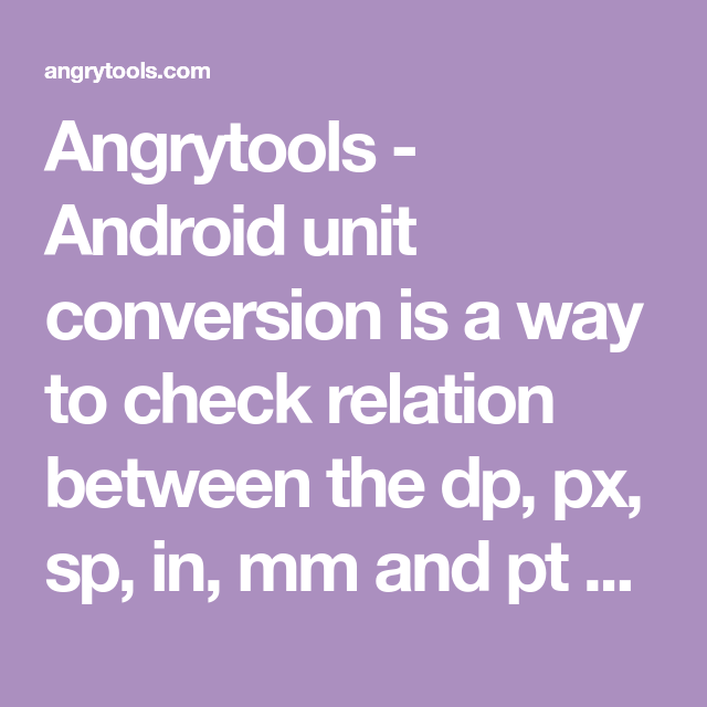 Angrytools - Android unit conversion is a way to check relation