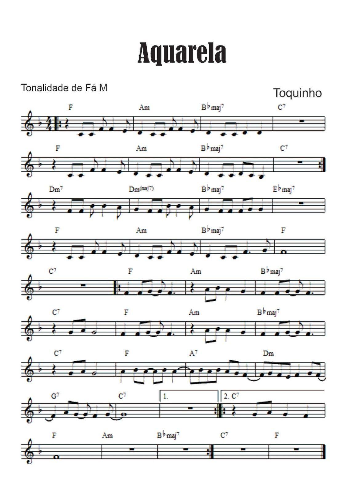 Aquarela Toquinho E Vinicius De Moraes Partitura Para Teclado