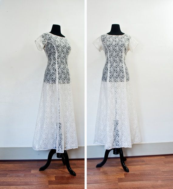 Vintage 1940s Dress - White Lace Sheer Wedding Party Formal Full Length Gown 40s / 30s - Medium