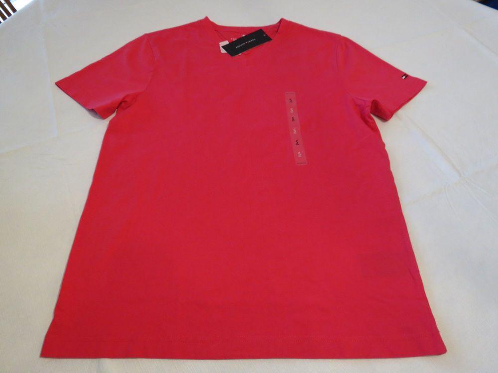 Men's Tommy Hilfiger T shirt NWT S NEW V Neck TEE  sleeve logo 640 Bright Rose #TommyHilfiger #BasicTeeVneck