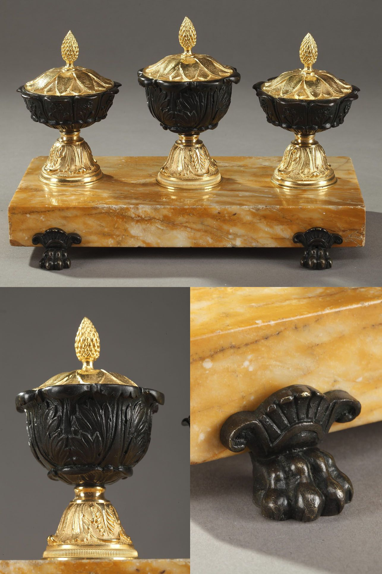 French Bronze and Siena Marble Antique Inkwell Antique