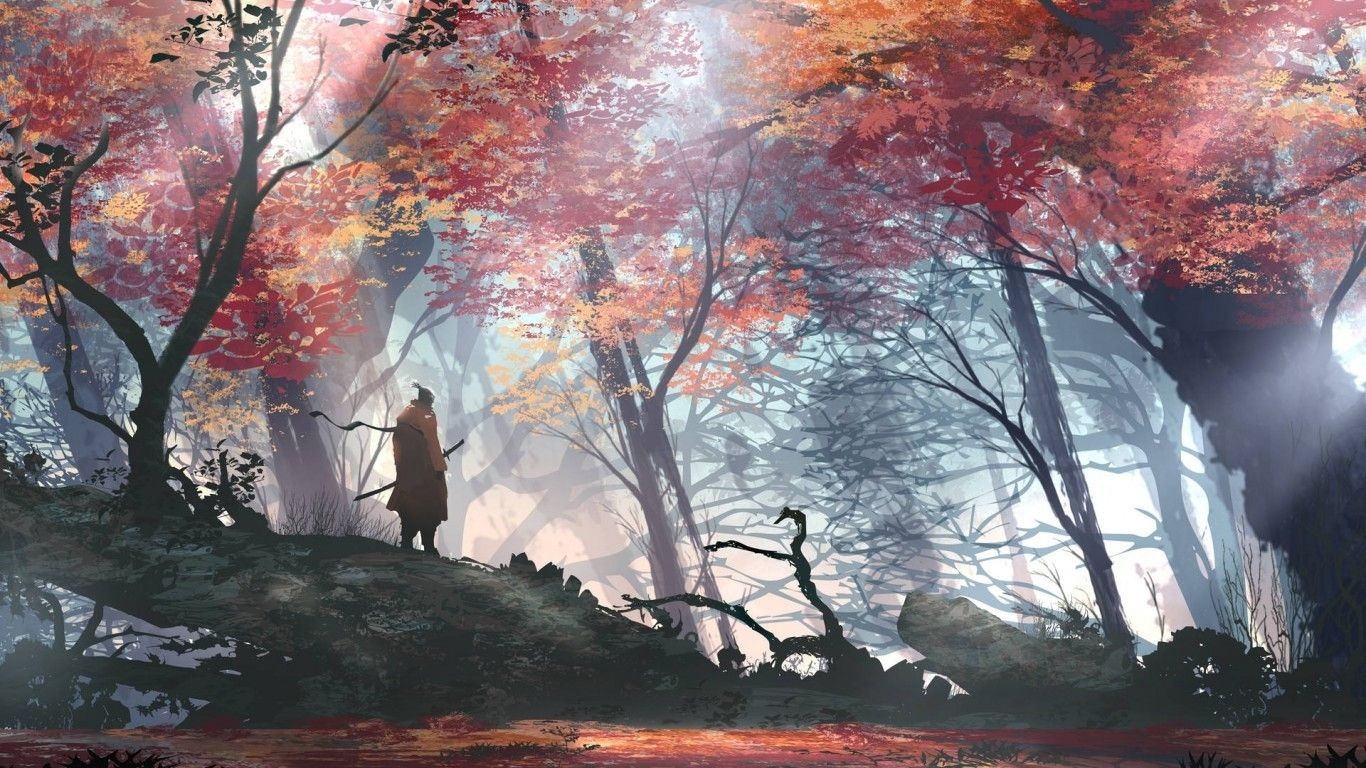 Download 1366x768 Anime Man Samurai Autumn Scenic Forest Sword Trees Wallpapers For Laptop Notebook Wal Zhivopisnye Pejzazhi Pejzazhi Yaponskie Illyustracii