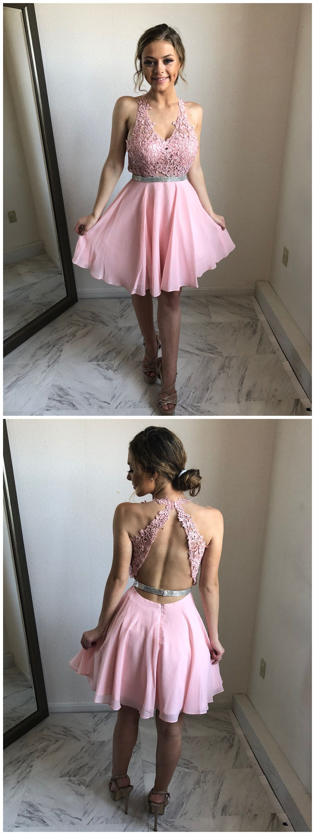 Pink dress hoco  Pink Lace and Chiffon Homecoming Dresses V Neck Open Back Hoco Dress