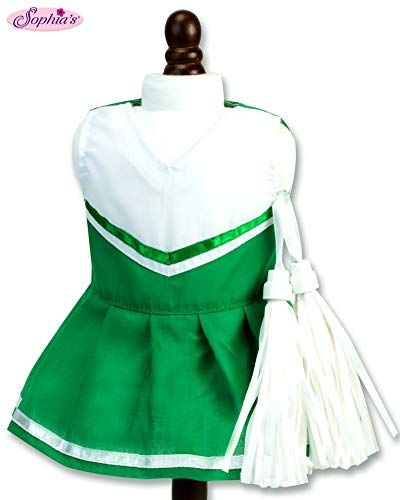 18 Inch Doll Green Cheerleading 2pc Set Fits 18 Inch American Girl Doll Clothes & More! Two-Piece Green Cheer Outfit with White Pom-Poms