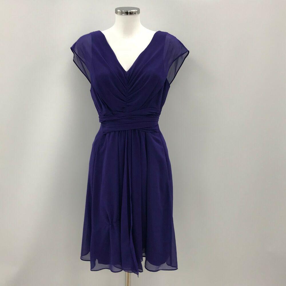 Coast Purple V Neck Dress Sleeveless Party Chic Ladies Uk 14 46261 Dresses Fit And Flare Skirt V Neck Dress