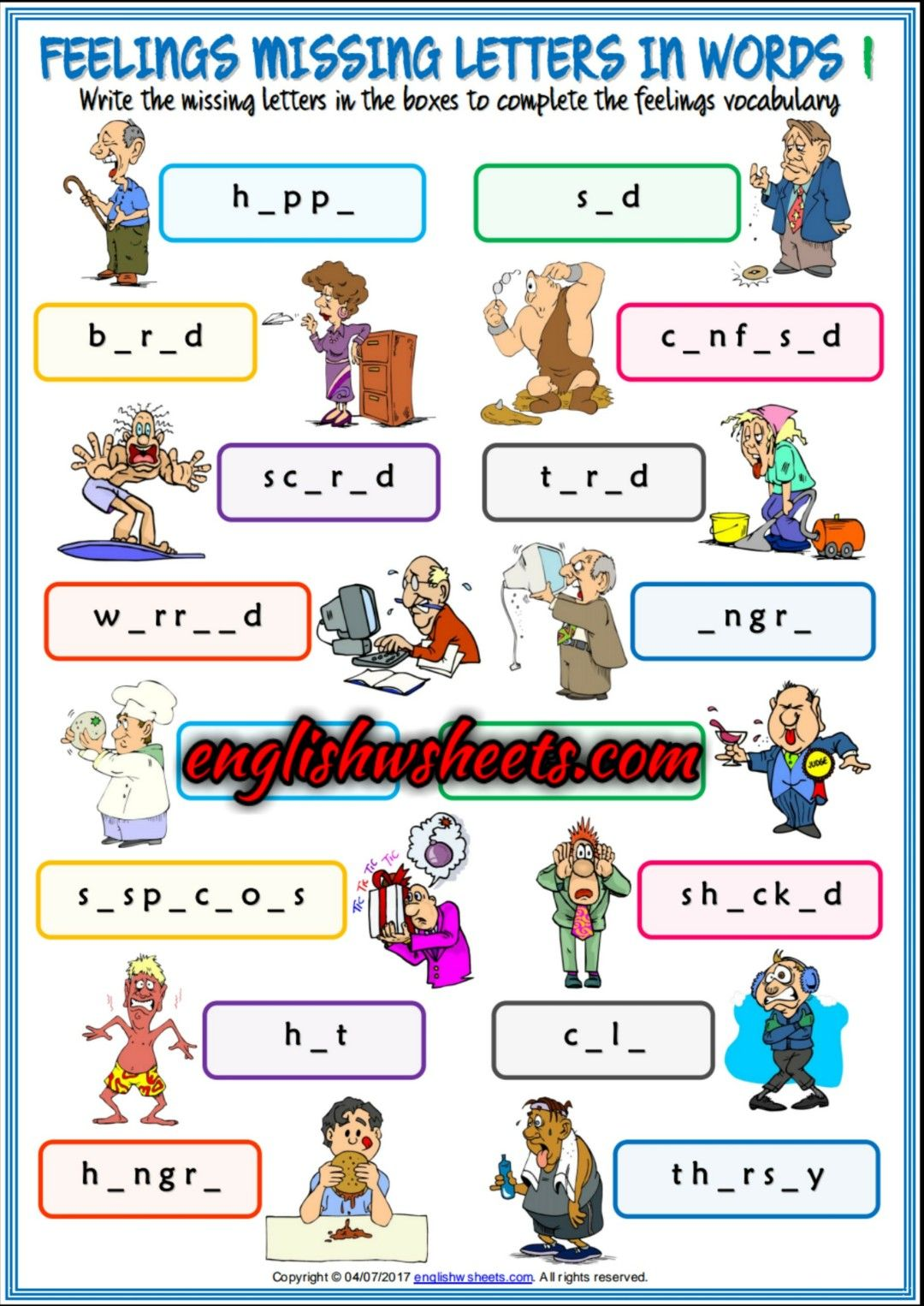 Feelings Emotions Esl Printable Missing Letters In Words