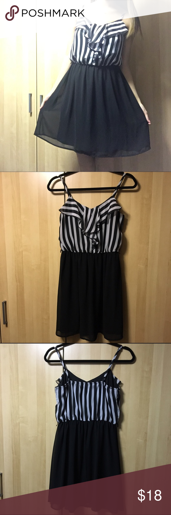 Ruffled Top Chiffon Dress An adorable ruffled chiffon black & white striped top with black bottom. Two layers, lightweight and comfortable. Adjustable straps. Worn once, like new condition. Questions welcomed. BCX Dresses Mini