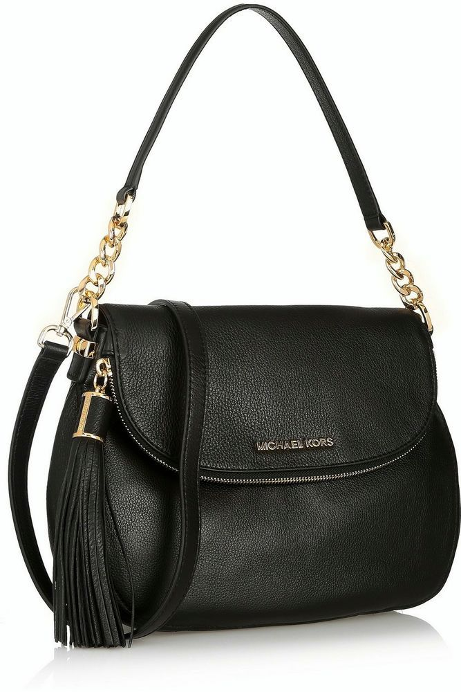 3163a72d1a44 New Michael Kors Bedford Medium Tassel Convertible Leather Shoulder Bag  Black  MichaelKors  MessengerCrossBody