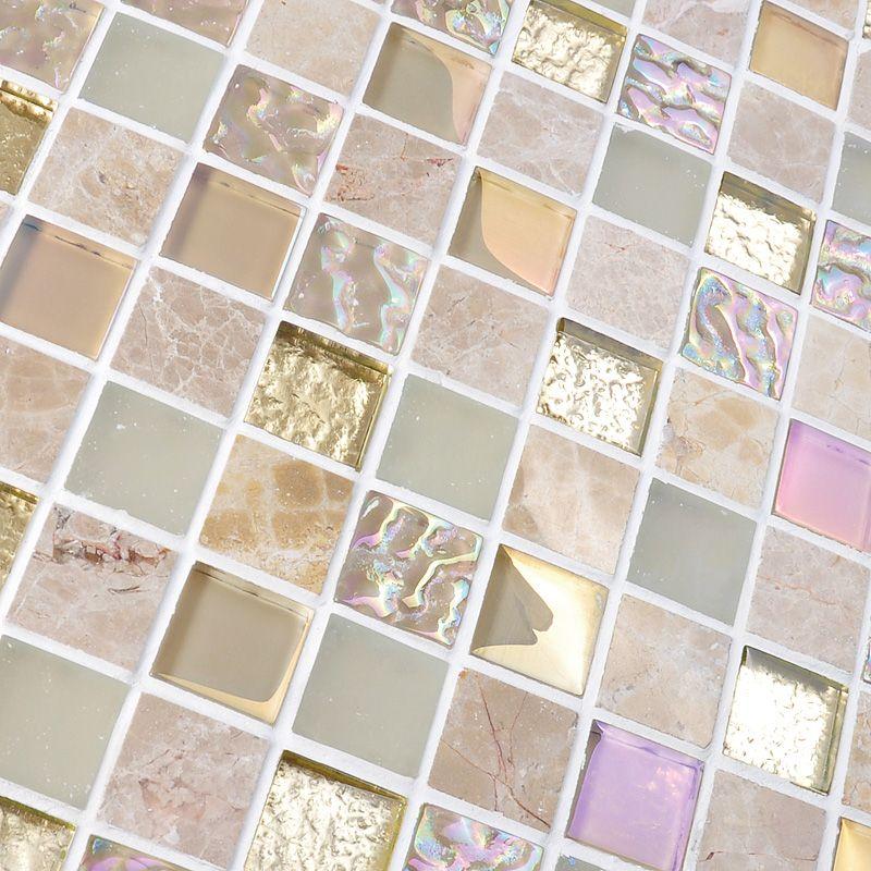 Crystal Gl Mirror Tile Backsplash Stone Blend Iridescent Mosaic Shower Floor Sticker And