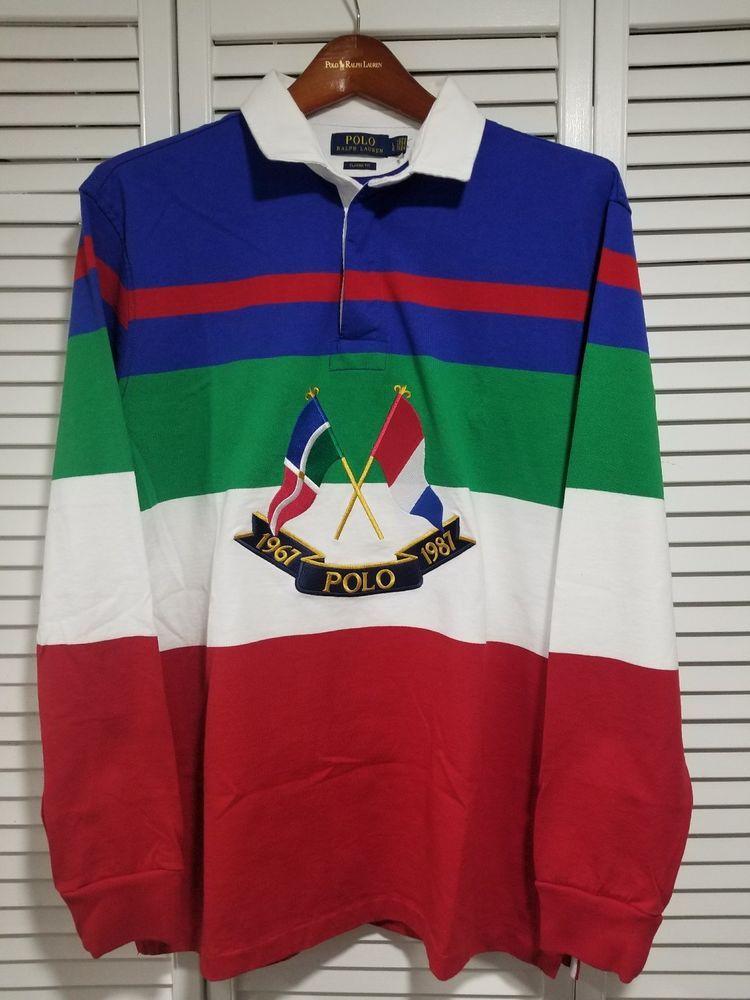 82d51a3aa2fa8 Vintage polo ralph lauren snowbeach indian rare 92 cross flag rugby size L  NEW  poloralphlauren