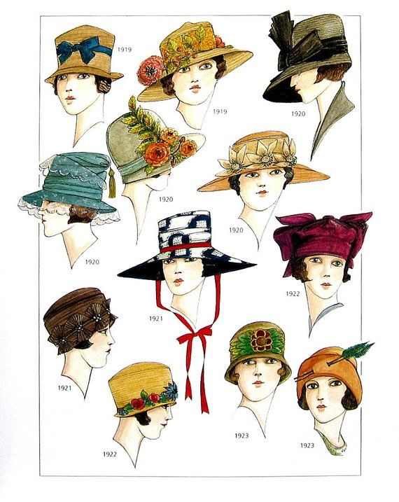 Early 1900 s Fashion Design - Women s Hats - 1910 s to 1920 s - Reference  Material -1993 Vintage Boo 7b91ff1db11