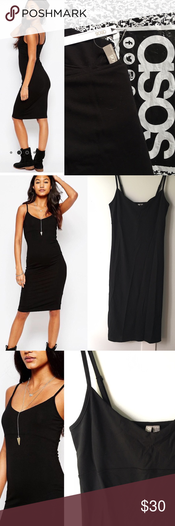 NWT ASOS structured bodycon cami midi dress Color: Black Size: Small  Material: 97% viscose, 3% elastase Brand: ASOS - NWT *soft touch jersey, scoop neckline, adjustable straps, close-cut body-conscious fit. Adorable with heels! Dresses Midi