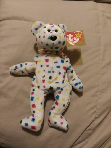 10b86ebb6e9 Beanie Babies TY 2K Confetti TEDDY BEAR 1999 2000 TAG ERRORS Original  RETIRED