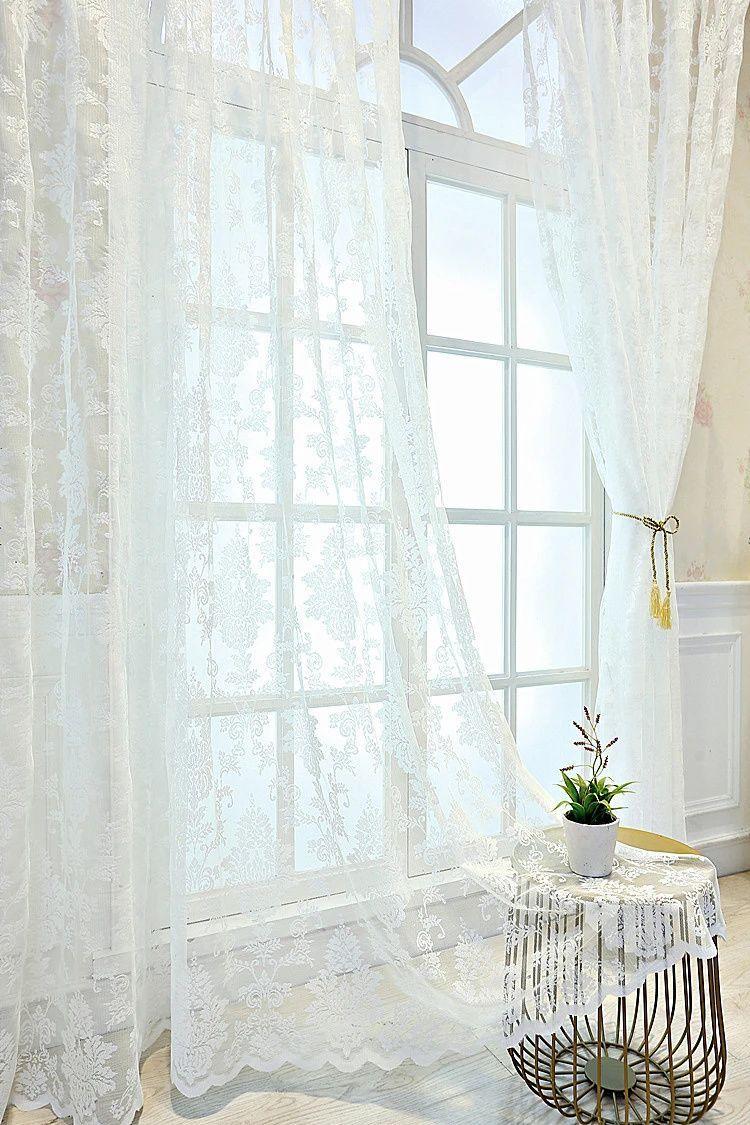 rideau voilage blanc dentelle rideau