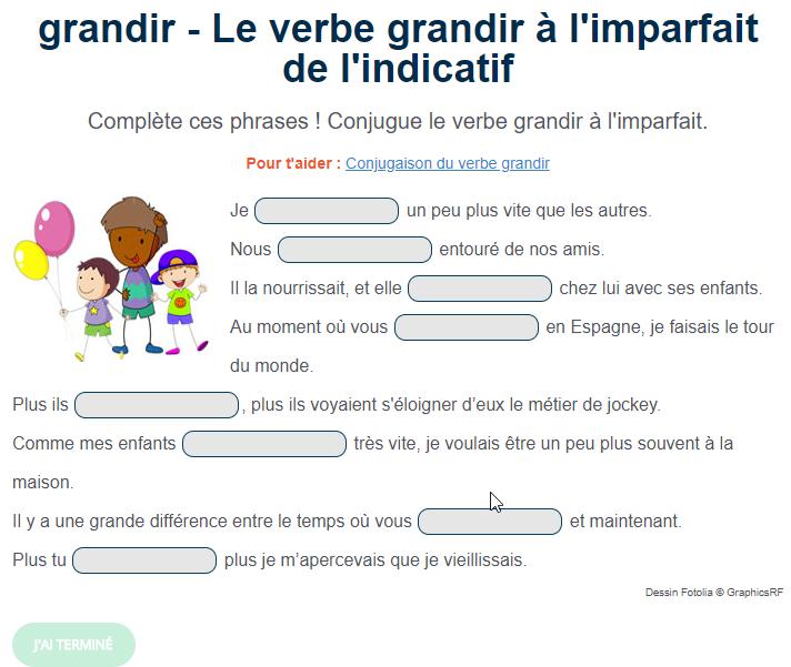 Exercice De Conjugaison Le Verbe Grandir A L Imparfait Exercice De Francais Cm1 Exercices Conjugaison Conjugaison Cm1