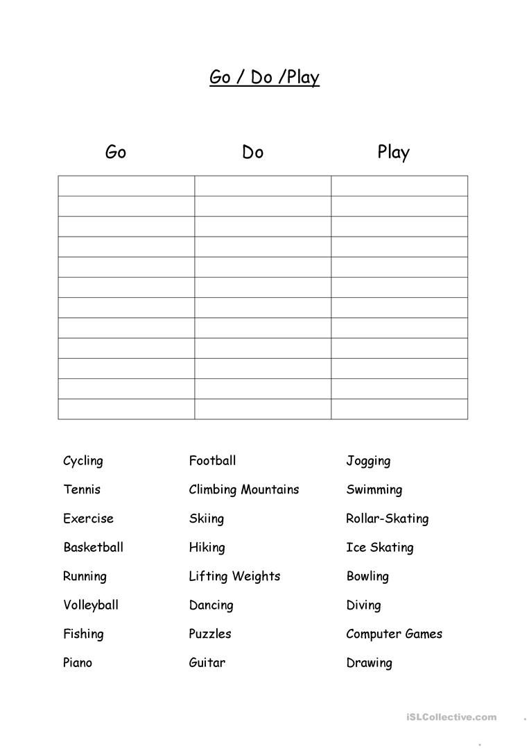 Go Do Play For Sports And Hobbies Worksheet Free Esl Printable Worksheets Made By Teachers Hobbies Quote Hobbies For Women Hobbies To Try [ 1079 x 763 Pixel ]