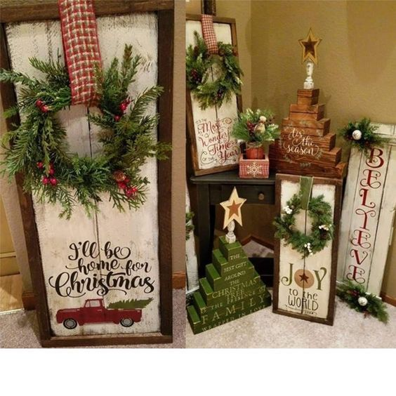 Easy DIY Christmas Decor Ideas for Front Porch – Wooden Signs