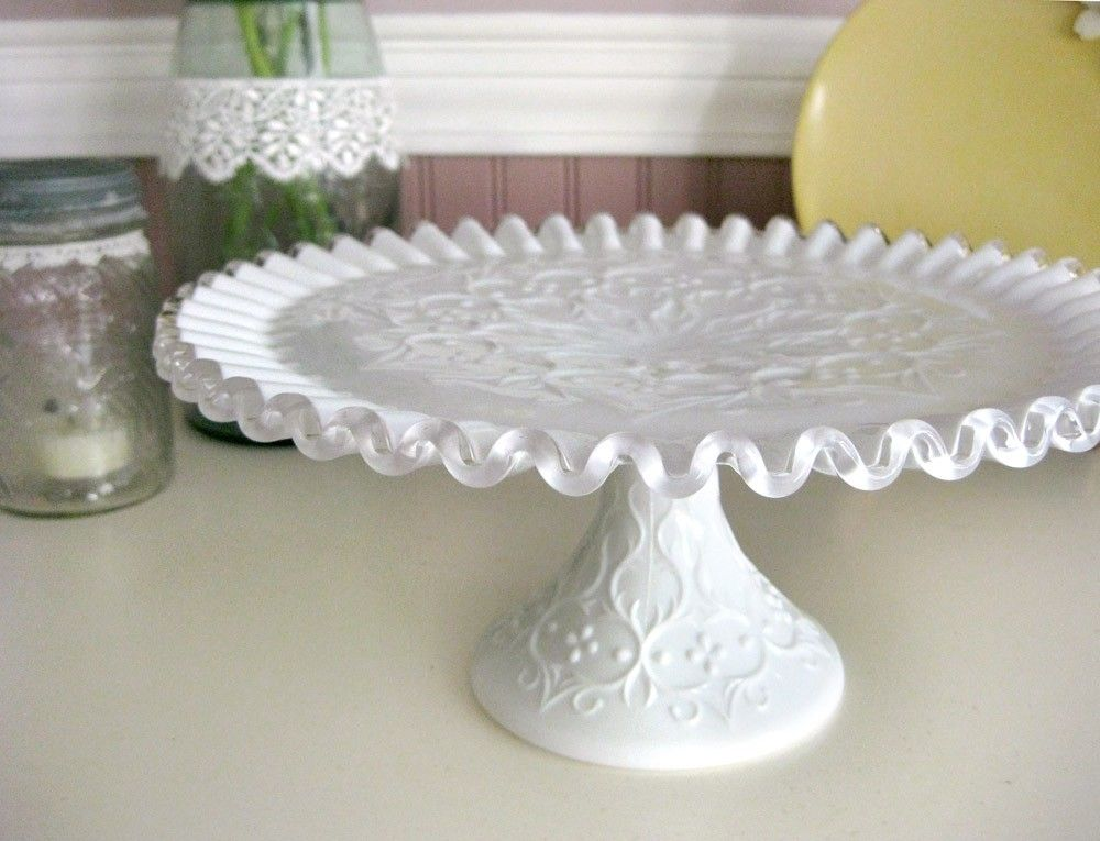 vintage fenton spanish lace milk glass cake stand by figarosnest