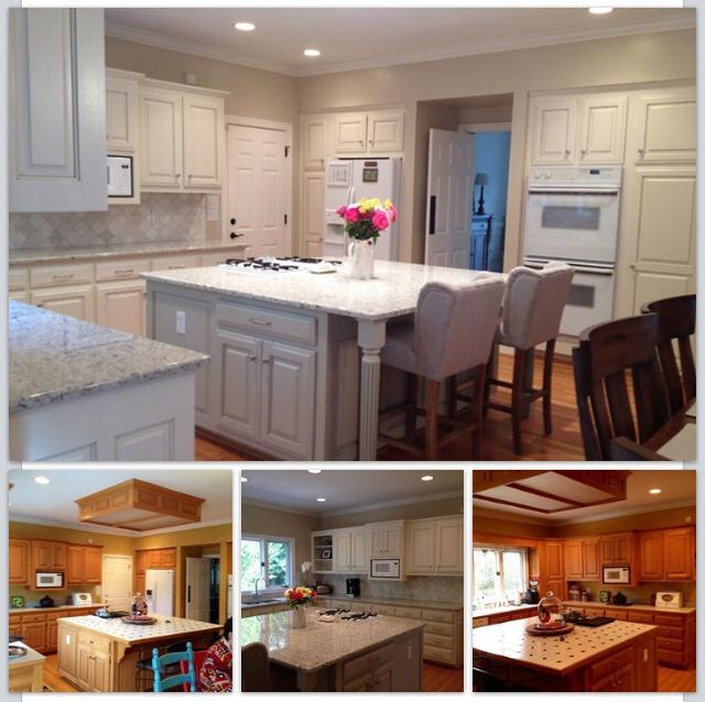 Beautiful white kitchen with painted cabinets before for Painting wood cabinets white before and after