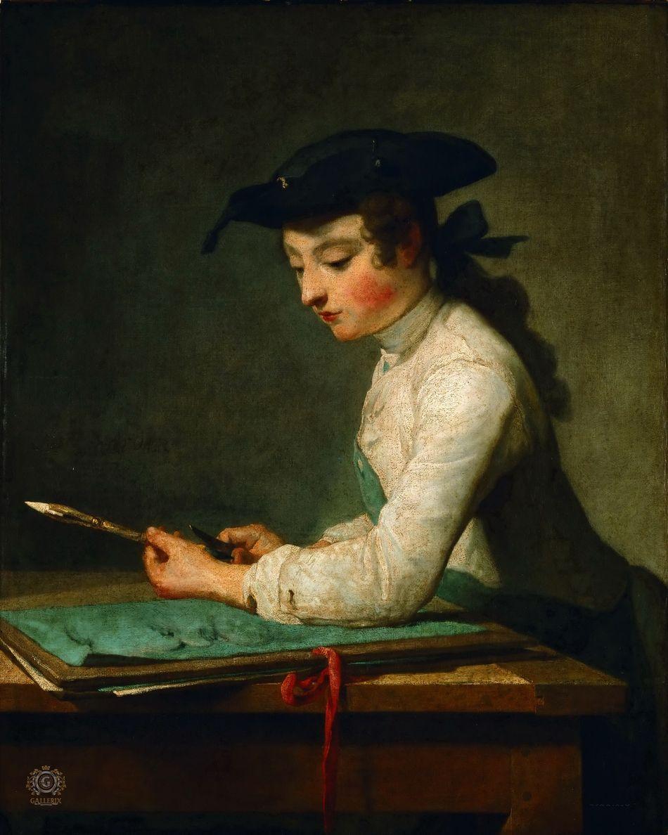 Chardin, Jean-Baptiste-Simeon (Paris 1699-1779) Boy, cleaning pen