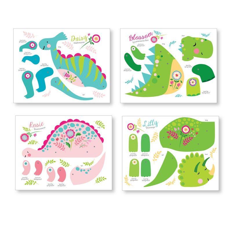 Photo of 4 Articulated Paper Dinosaur Dolls, Instant DIY Download – Dinosaur Crafts, Dinosaur Party, Pink Dinosaur