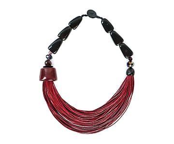 Collar de cordón Rebecca - rojo