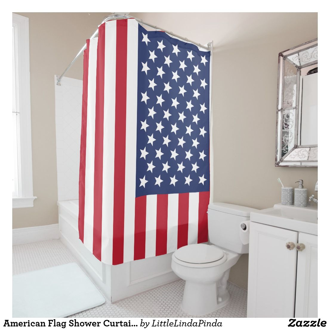 American Flag Patriotic Shower Curtain Or Your Image And Text CLICK