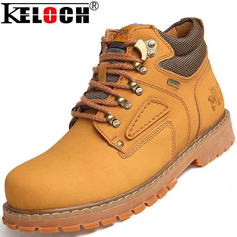 Big Size 38-47 Genuine Leather Worker Boots Men High Top Tooling Boots Winter Warm Leather Boots Men alishoppbrasil