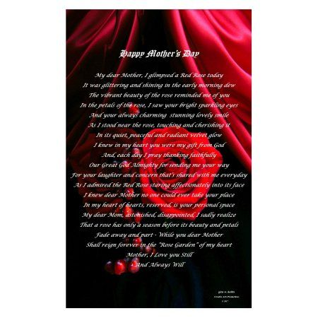 Poems by Glen Happy Mother's Day - 11 inch X 17 inch Print (01), Red