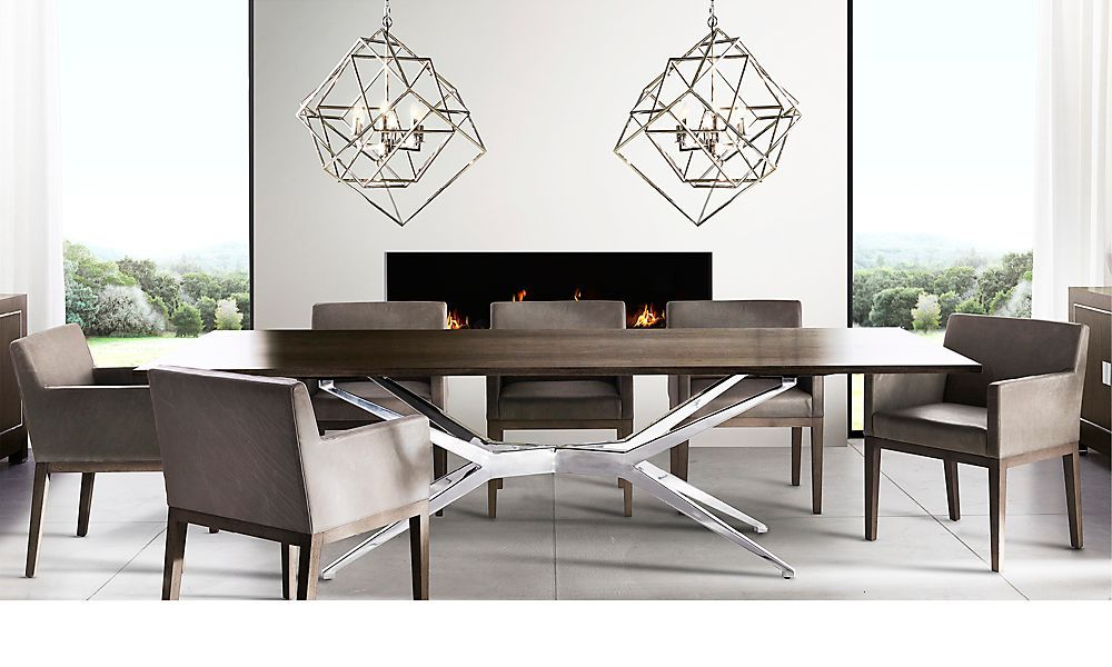 Modern Rectangular Dining Table By Restoration Hardware For Unique Contemporary Room Sets