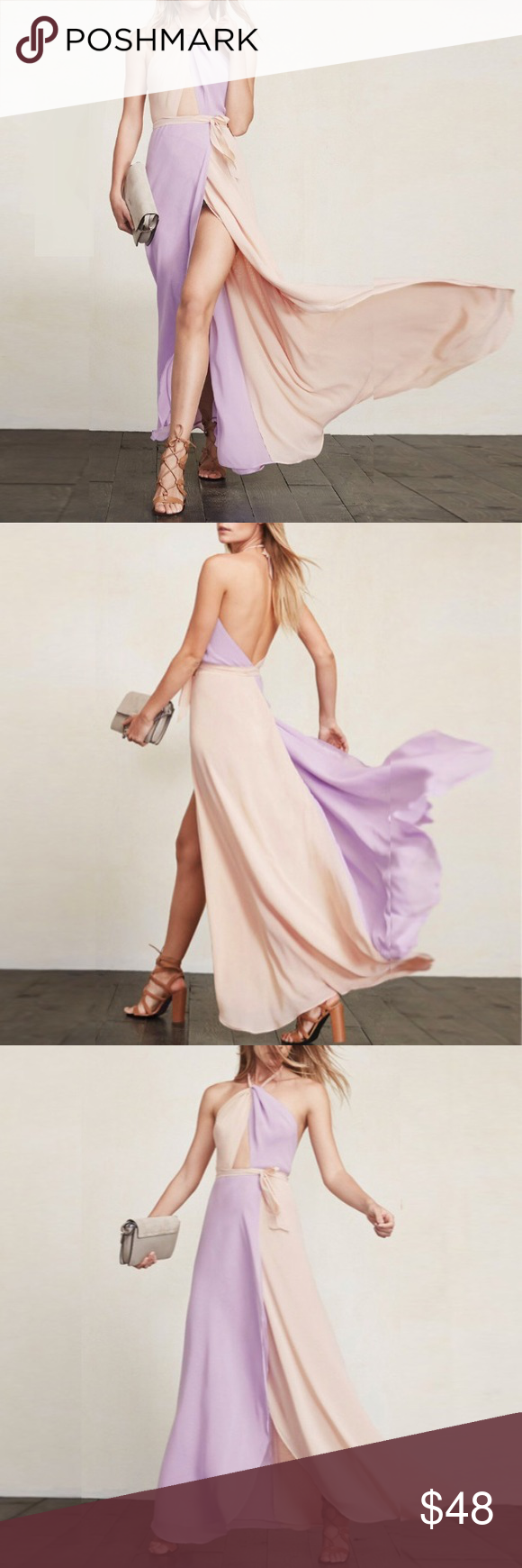 Apricot purple maxi dress estella halter new boutique maxi