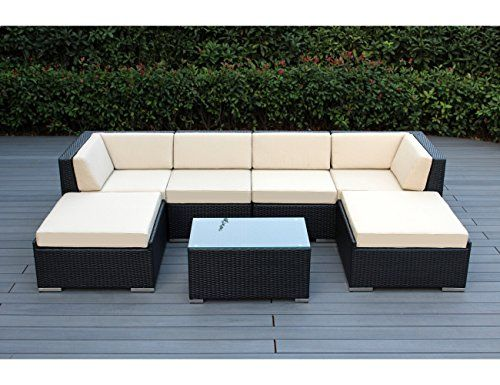 Genuine Ohana Outdoor Patio Sofa Sectional Wicker Furniture 7pc