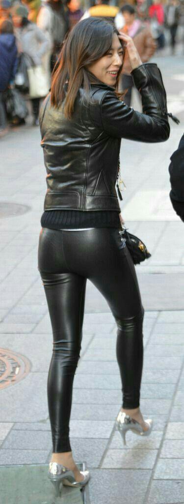 leather Amateur butt shiny pants