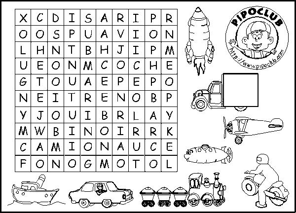 Crucigramas y sopas de letras para niños de primaria para