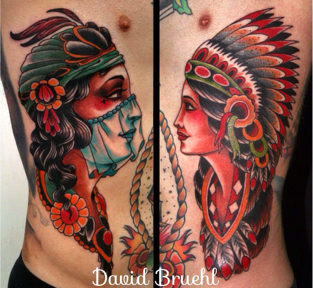 Colorful Traditional Western Americana Tattoo Folk Gypsy border=
