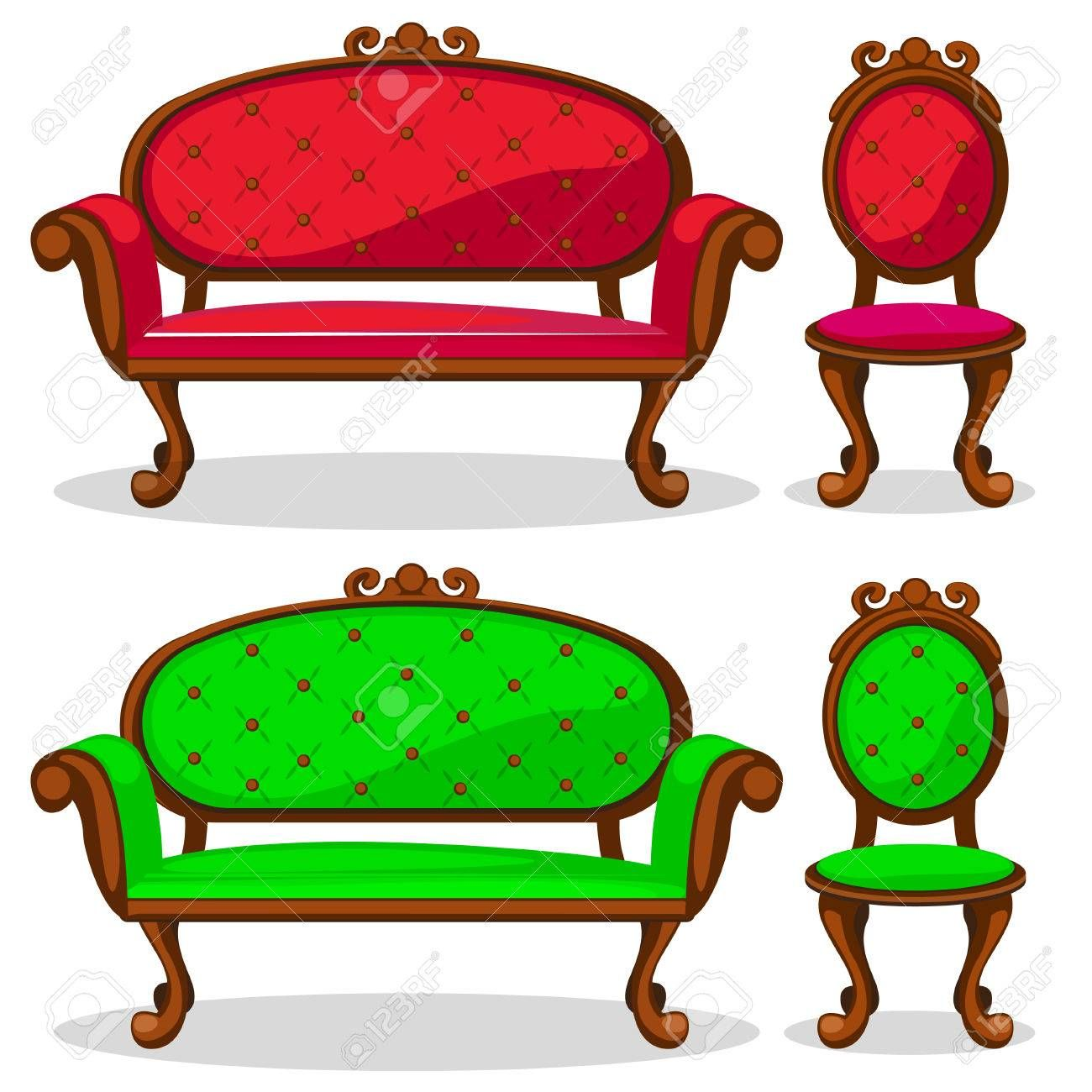 Cartoon Colorful Retro Chair And Sofa In Vector Retro Chair Cartoon Retro
