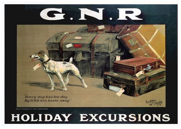 """This Great Northern Railway poster was produced in 1913 to promote its success as the shortest and quickest route from London to Yorkshire. It encouraged rail travel making everyone and their dog feeling welcome. The text reads """"Every dog has his day, By GNR let's haste away"""". On the platform is a small dog tethered to its owners collection of suitcases and all are responsibly tagged with address labels waiting for the train. Artwork by Lionel D Edwards."""