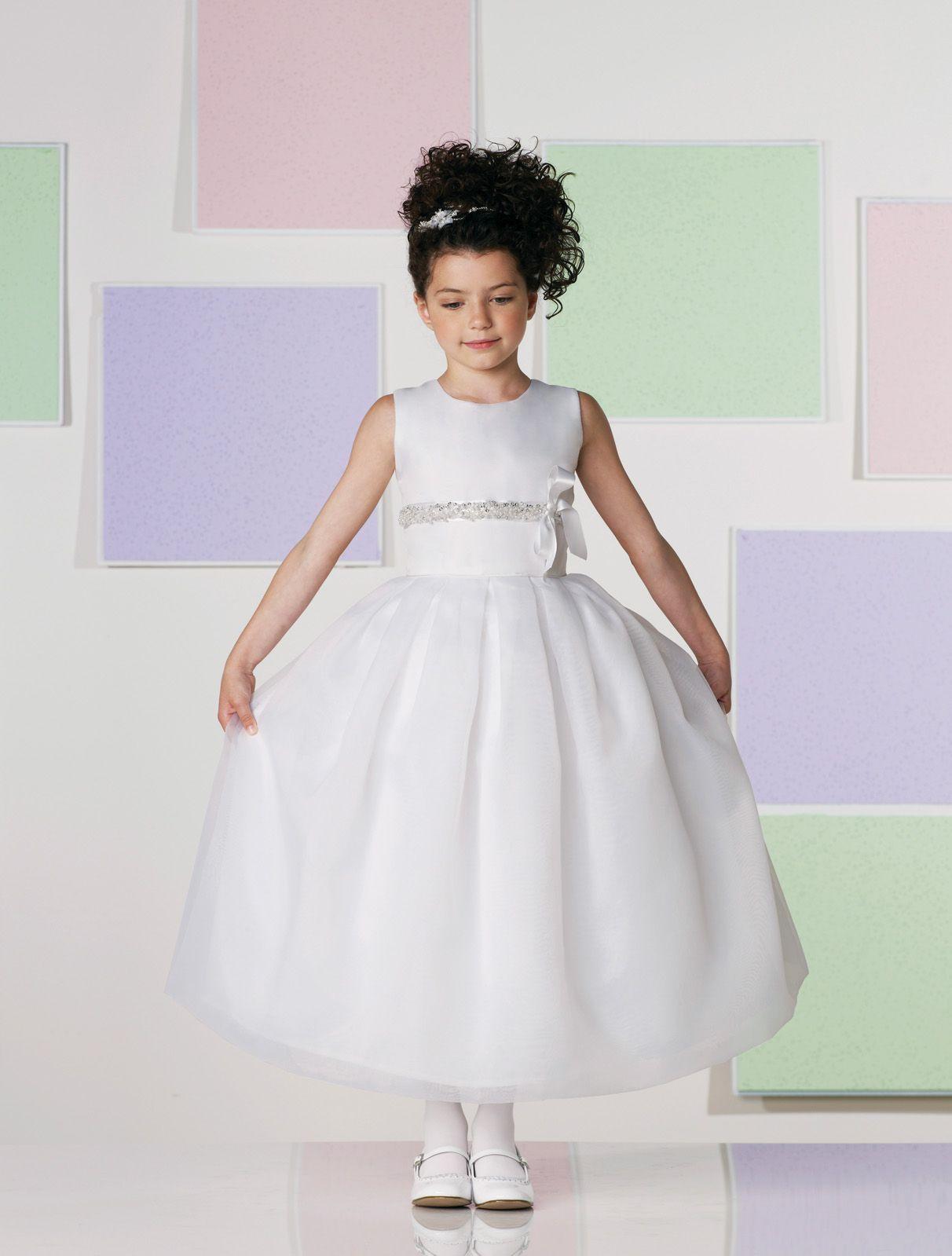 202f5db5d05 Sleeveless satin and organza tea-length A-line dress with jewel neckline