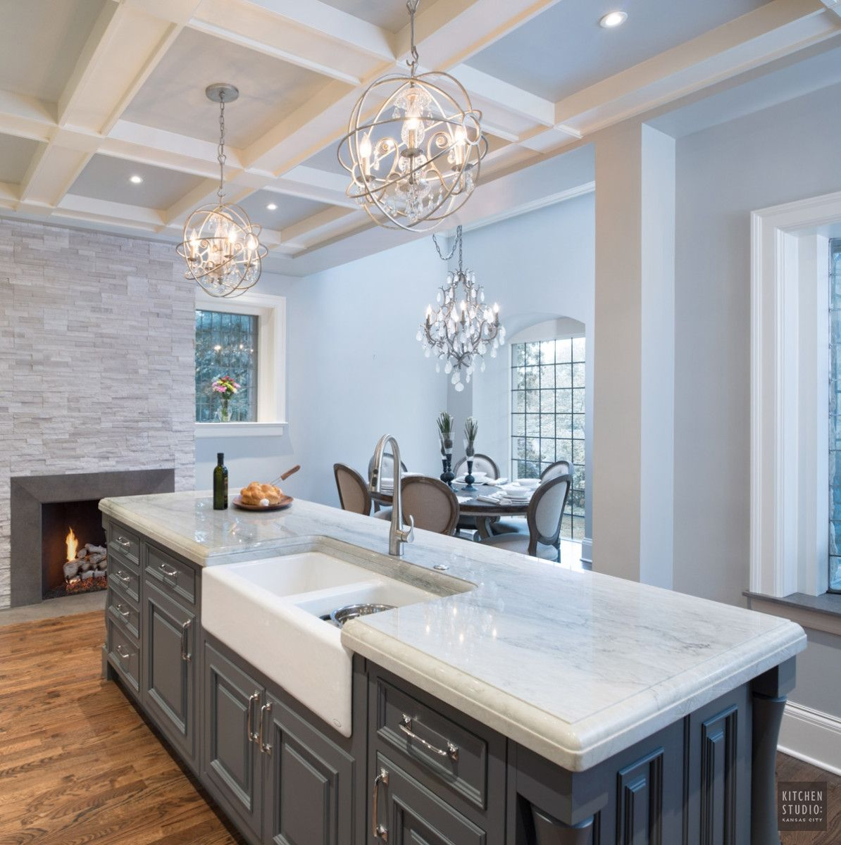 Gray Granite Kitchen: Fireplace, Natural Stone Veneer, White Birch Ledgestone