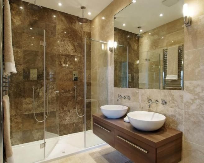 Photo of beige brown bathroom ensuite ensuite bathroom for Contemporary ensuite bathroom design ideas